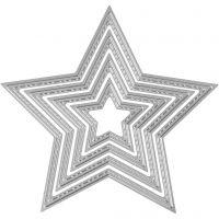 Carpeta troquel y grabado en relieve, Estrella, dia: 3,5-11,5 cm, 1 ud