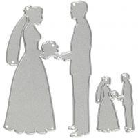 Cortador, parejas de boda, medidas 52x81+23x35 mm, 1 ud