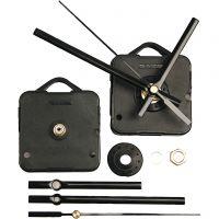 Mecanismos de funcionamiento para reloj, grosor máximo placa 6 mm, negro, 1 set