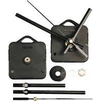 Mecanismos de funcionamiento para reloj, grosor máximo placa 10 mm, negro, 1 set
