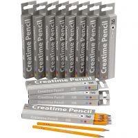 Lápices escolares, L. 17,5 cm, dureza HB, grosor 7 mm, mina 2 mm, 12x12 ud/ 1 paquete