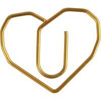Clips, Corazón, medidas 30x20 mm, dorado, 6 ud/ 1 paquete