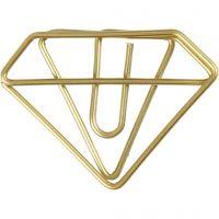 Clips, diamante, A: 25 mm, A: 35 mm, dorado, 6 ud/ 1 paquete