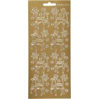 Pegatinas, Ciervo, 10x23 cm, dorado, 1 hoja