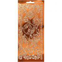 Pegatinas, Ornamentos, 10x23 cm, dorado, 1 hoja