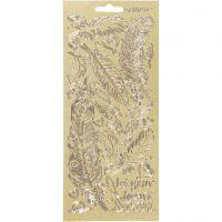 Pegatinas, Plumas, 10x23 cm, dorado, 1 hoja