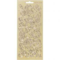 Pegatinas, Mariposas, 10x23 cm, dorado, 1 hoja