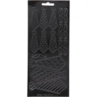 Pegatinas, Corbatas, 10x23 cm, negro, 1 hoja