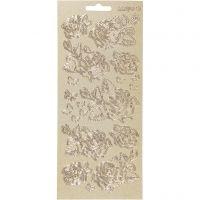 Pegatinas, Rosas, 10x23 cm, dorado, 1 hoja