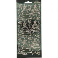 Pegatinas, Árboles de Navidad, 10x23 cm, dorado, 1 hoja