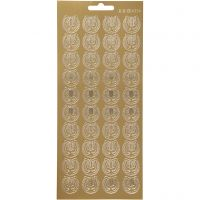 Pegatinas, Lira, 10x23 cm, dorado, 1 hoja