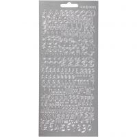 Pegatinas, Alfabeto, 10x23 cm, plata, 1 hoja