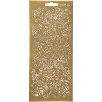Pegatinas, Acebo, 10x23 cm, dorado, 1 hoja
