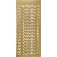 Pegatinas, guldbryllup, 10x23 cm, dorado, 1 hoja
