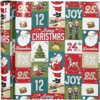 Papel de regalo, English Christmas, A: 70 cm, 80 gr, 4 m/ 1 rollo