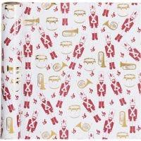 Papel de regalo, Nutcracker, A: 70 cm, 80 gr, dorado, rojo, blanco, 2 m/ 1 rollo