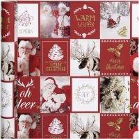 Papel de regalo, Motivos Navideños, A: 50 cm, 80 gr, dorado, rojo, 3 m/ 1 rollo