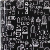 Papel de regalo, cactus, A: 50 cm, 80 gr, 5 m/ 1 rollo