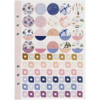 Libro de pegatinas, Flores, A5, dorado, morado, rosado, 1 ud/ 1 paquete