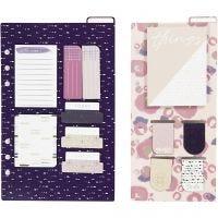 Surtido de post-it y puntos de libro, medidas 10,3x22 + 13,8x22 cm, dorado, morado, rosado, 2 hoja/ 1 paquete
