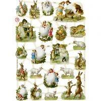 Cromos Vintage, Pascua rural, 16,5x23,5 cm, 3 hoja/ 1 paquete