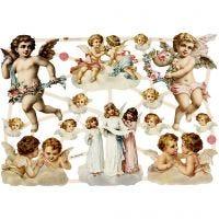 Cromos Vintage, ángeles grandes, 16,5x23,5 cm, 3 hoja/ 1 paquete