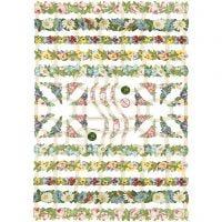 Cromos Vintage, flores, 16,5x23,5 cm, 3 hoja/ 1 paquete