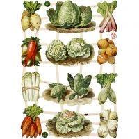 Cromos Vintage, verduras, 16,5x23,5 cm, 3 hoja/ 1 paquete