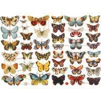 Cromos Vintage, mariposas, 16,5x23,5 cm, 2 hoja/ 1 paquete