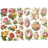 Cromos Vintage, rosas, 16,5x23,5 cm, 2 hoja/ 1 paquete