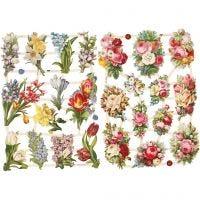 Cromos Vintage, flores de primavera, 16,5x23,5 cm, 2 hoja/ 1 paquete