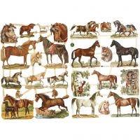 Cromos Vintage, caballos, 16,5x23,5 cm, 2 hoja/ 1 paquete