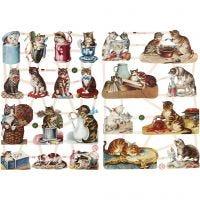 Cromos Vintage, gatos, 16,5x23,5 cm, 2 hoja/ 1 paquete