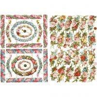 Cromos Vintage, flores pequeños, 16,5x23,5 cm, 2 hoja/ 1 paquete