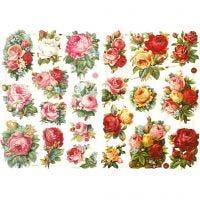 Cromos Vintage, surtido de rosas, 16,5x23,5 cm, 2 hoja/ 1 paquete