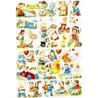 Cromos Vintage, niños, 16,5x23,5 cm, 2 hoja/ 1 paquete