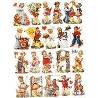 Cromos Vintage, niños nostálgicos, 16,5x23,5 cm, 2 hoja/ 1 paquete