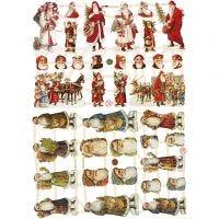Cromos Vintage, Papá Noel, 16,5x23,5 cm, 2 hoja/ 1 paquete