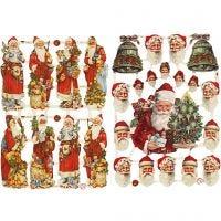 Cromos Vintage, Papa Noel con regalos, 16,5x23,5 cm, 2 hoja/ 1 paquete