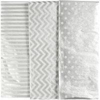 Papel de seda, 50x70 cm, 17 gr, plata, 6 hoja/ 1 paquete