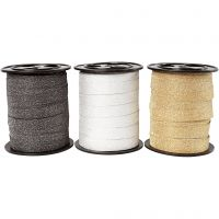 Cinta para rizar, A: 10 mm, purpurina, negro, dorado, plata, 3x15 m/ 1 paquete