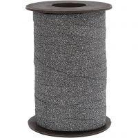 Cinta para rizar, A: 10 mm, purpurina, negro, 100 m/ 1 rollo