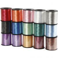 Cintas de plástico- surtido, A: 10 mm, glossy, surtido de colores, 15x50 m/ 1 paquete