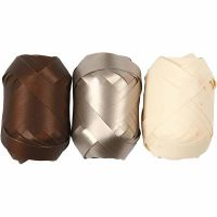 Cinta rizada, A: 10 mm, marrón, dorado metalizado, color natural claro, 3x10 m/ 1 paquete