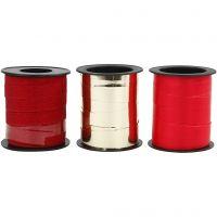 Cinta para rizar, A: 10 mm, dorado, rojo, rojo purpurina, 3x15 m/ 1 paquete