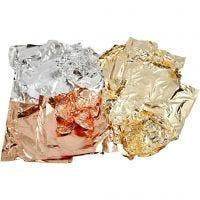 Hoja metálica de imitación, 16x16 cm, cobre, dorado, plata, 3x50 hoja/ 1 paquete