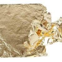 Hoja metálica de imitación, 16x16 cm, dorado, 25 hoja/ 1 paquete, 0,625 m2