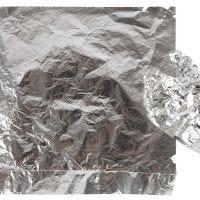 Hoja metálica de imitación, 16x16 cm, plata, 25 hoja/ 1 paquete, 0,625 m2