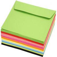 Sobres de colores, medida sobre 16x16 cm, 80 gr, surtido de colores, 10x10 ud/ 1 paquete