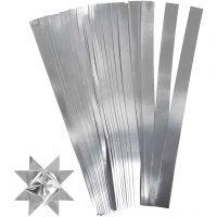 Tiras de papel para estrellas, L. 45 cm, A: 10 mm, dia: 4,5 cm, plata, 100 tiras/ 1 paquete